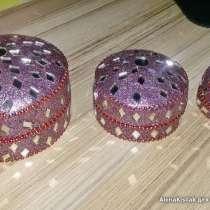 Шкатулки 3шт в 1, сиреневые с блёстками и стекляшками, новые, в г.Брест