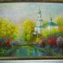 Картина масло Церковь на картоне, в Иркутске