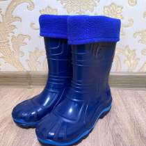 Детские синие резиновые сапоги с подкладом, в Казани
