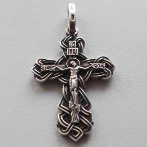 Крестик серебряный, 45 х 23 мм, новый, освящённый, в Омске