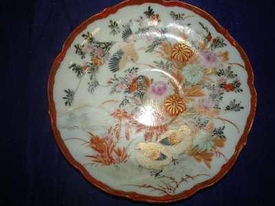 старинное китайское блюдце с ручной росп