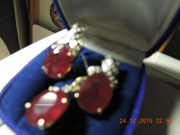 Серьги с рубинами, брил. и подвеска