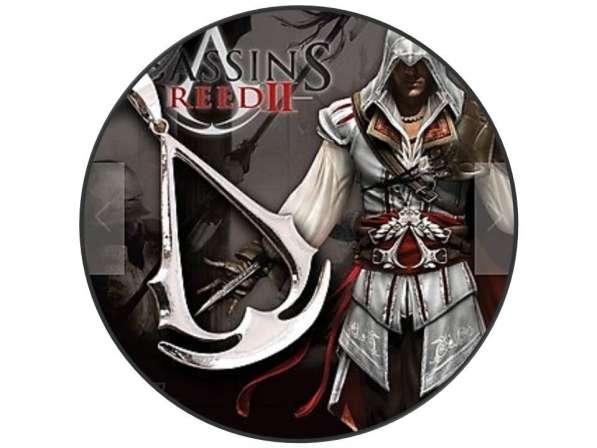 Кулон Assassins Creed + каучуковый шнурок + бархатный мешок