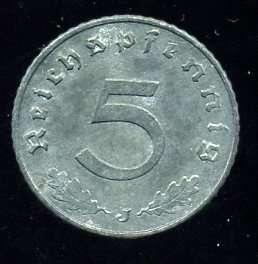 Германия 5 пфеннигов в качестве 1941 г. (J - Гамбург) 3 рейх