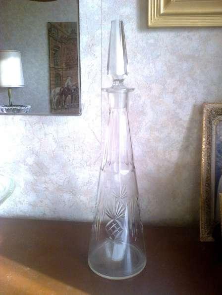 Старинный графин, стекло, ручная гранка