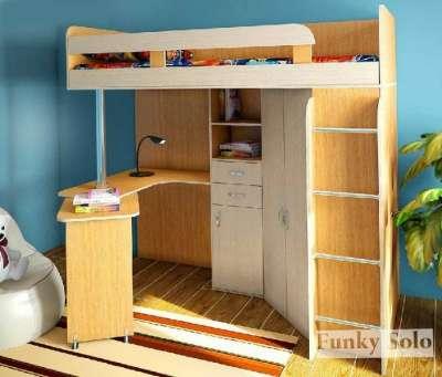 Фанки Соло 2 Кровать-чердак, цвет бук