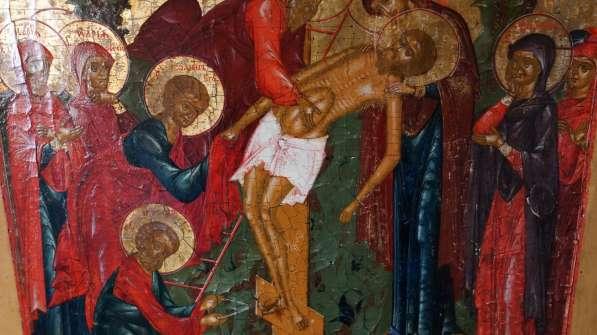 Старинный храмовый образ «Снятие с креста». Россия, XIX век в Санкт-Петербурге фото 8