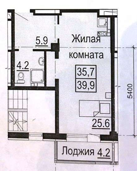 Однокомнатная квартира Крестинского 35