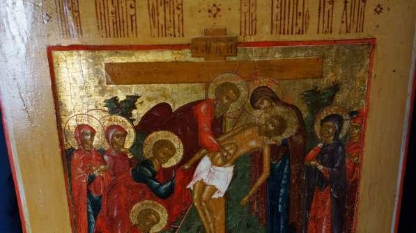 Старинный храмовый образ «Снятие с креста». Россия, XIX век в Санкт-Петербурге фото 16