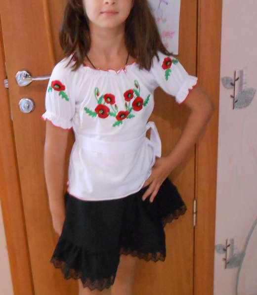 Вышиванка для девочки с коротким рукавом, р.136,140
