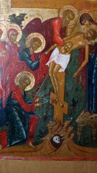 Старинный храмовый образ «Снятие с креста». Россия, XIX век в Санкт-Петербурге фото 3
