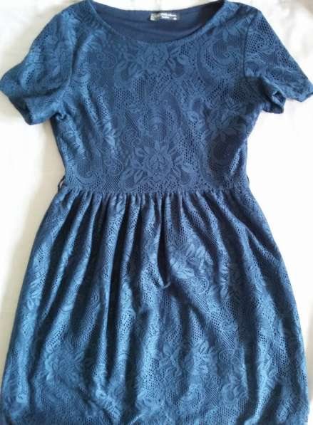 Платье кружевное синее, р-44(46)