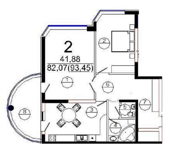 2-комнатная квартира, ЮМР, Рождественская набережная