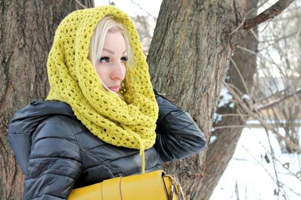 Большой вязаный снуд-шарф-труба ручной работы