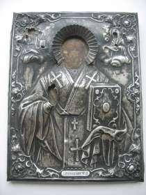 Икона, Николай Чудотворец. Оклад серебро 84,кованный, в Москве