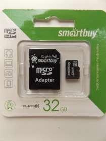 Карта памяти microSD 32Gb SmartBuy с адаптером, в Нижневартовске