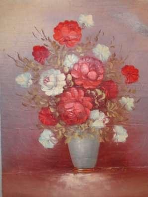 """х/м """"Букет роз в вазе"""""""