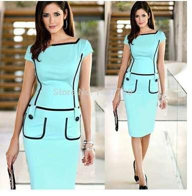 Платье- карандаш  модное, голубое. Pencil Dress