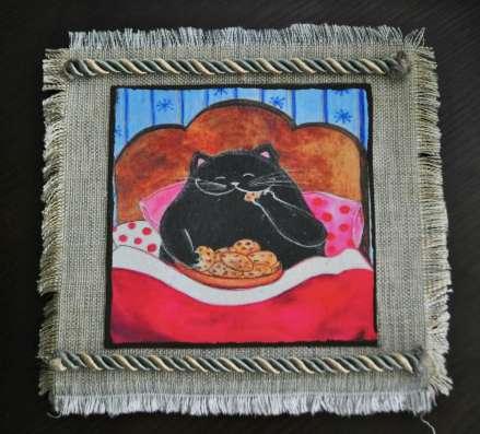 Картины из сухоцвета смешные коты и совы