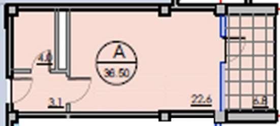 Квартира-студия 36,5 кв. м