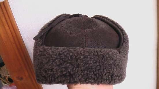 Шапка -шлем зимняя кожаная натуральный мех.