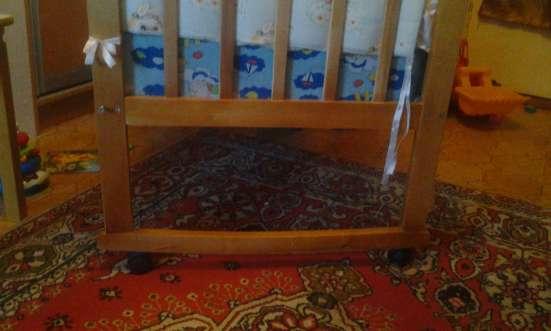 Детская кроватка маятник+матрас+бортики с балдахином