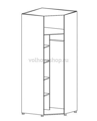 Шкаф угловой для одежды однодверный с зеркалом