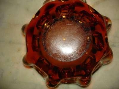 Старая конфетница,медовое стекло