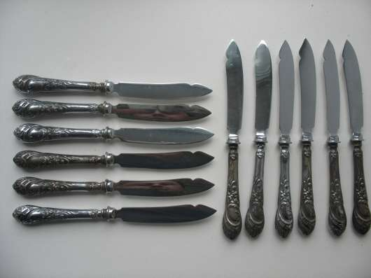 Ножи12шт дисертные. Серебро 84