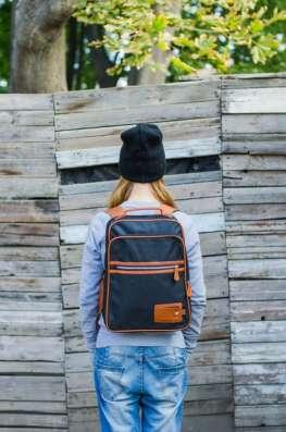 Рюкзак городской унисекс квадратный голубой черный