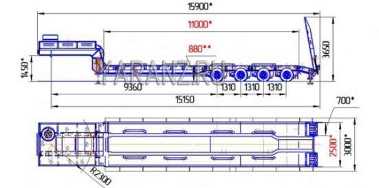 16. Трал низкорамный 50 тонник 11 метров с уширителями в Челябинске Фото 2