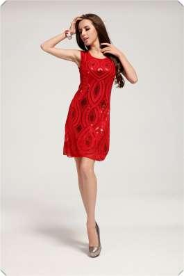 Вечернее платье красное (ручная вышивка)