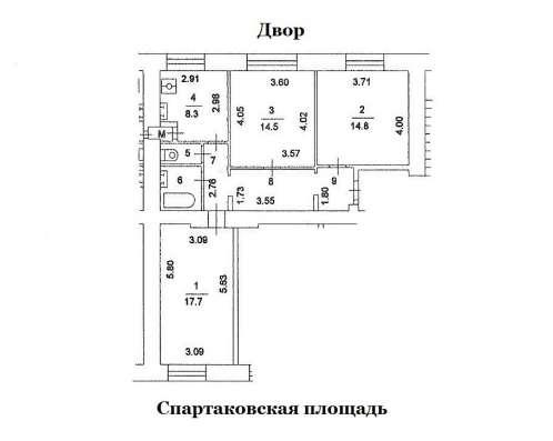 ЦАО. м. Бауманская. Продам 2-е комнаты в 3-х комн. кв