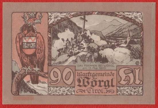 Австрия Вёргль нотгельд 90 геллеров 1920 г. в Орле Фото 1